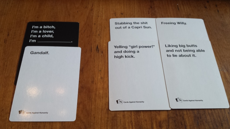 Cards Against Humanity cards, picture taken by Sarah Morrison. I'm not ...: https://fimsgamesclub.org/2015/01/22/cards-against-humanity-is-it...